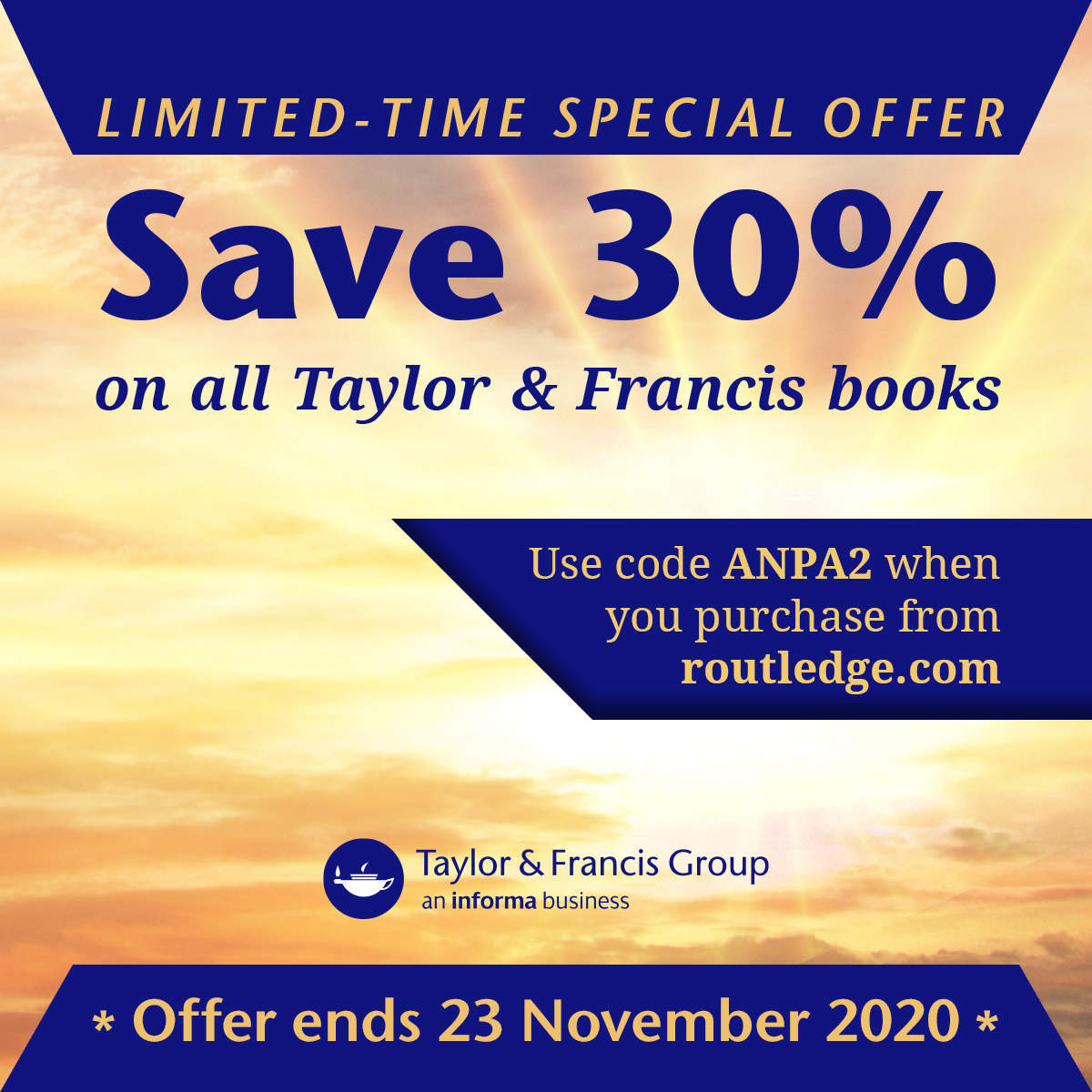 Save 30% off books from our publisher