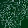 Dark green tree blog icon