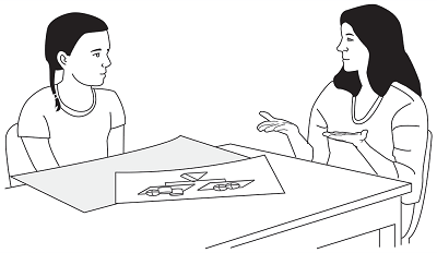 Line drawing of teacher and student at desk